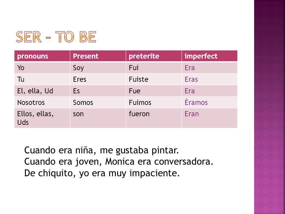 pronounsPresentpreteriteimperfect YoSoyFuiEra TuEresFuisteEras El, ella, UdEsFueEra NosotrosSomosFuimosÉramos Ellos, ellas, Uds sonfueronEran Cuando e