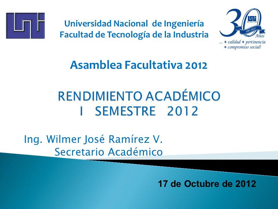 17 de Octubre de 2012 Ing. Wilmer José Ramírez V. Secretario Académico Universidad Nacional de Ingeniería Facultad de Tecnología de la Industria Asamb