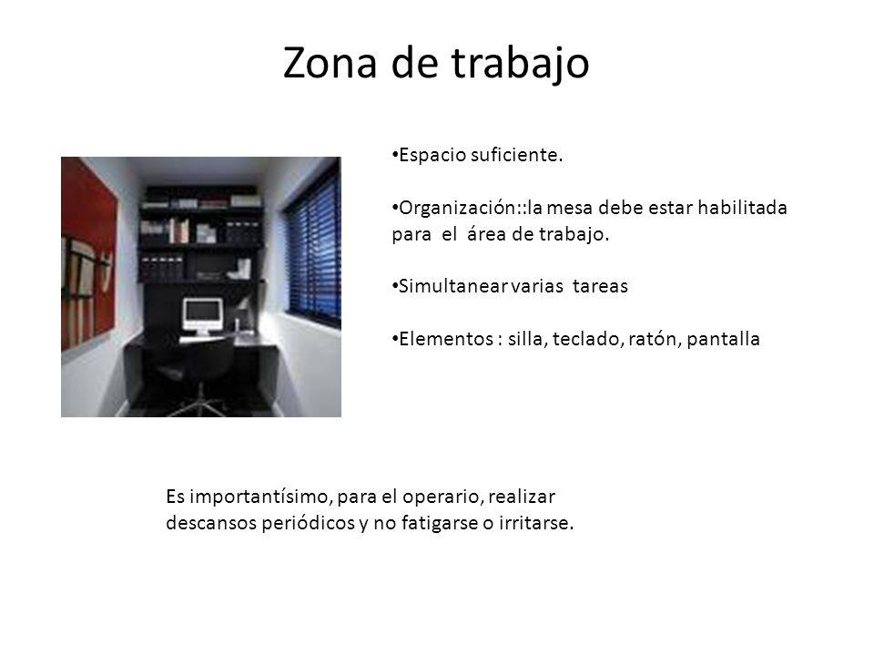 Zona de trabajo Espacio suficiente. Organización::la mesa debe estar habilitada para el área de trabajo. Simultanear varias tareas Elementos : silla,