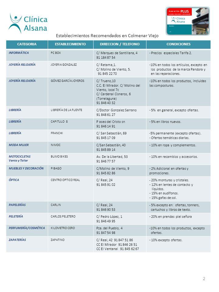 CATEGORIAESTABLECIMIENTODIRECCION / TELEFONOCONDICIONES INFORMÁTICAPC BOX C/ Marques de Santillana, 4 91 184 87 54 - Precios especiales Tarifa 2.
