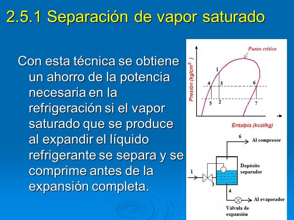 2.5.1 Separación de vapor saturado Con esta técnica se obtiene un ahorro de la potencia necesaria en la refrigeración si el vapor saturado que se prod