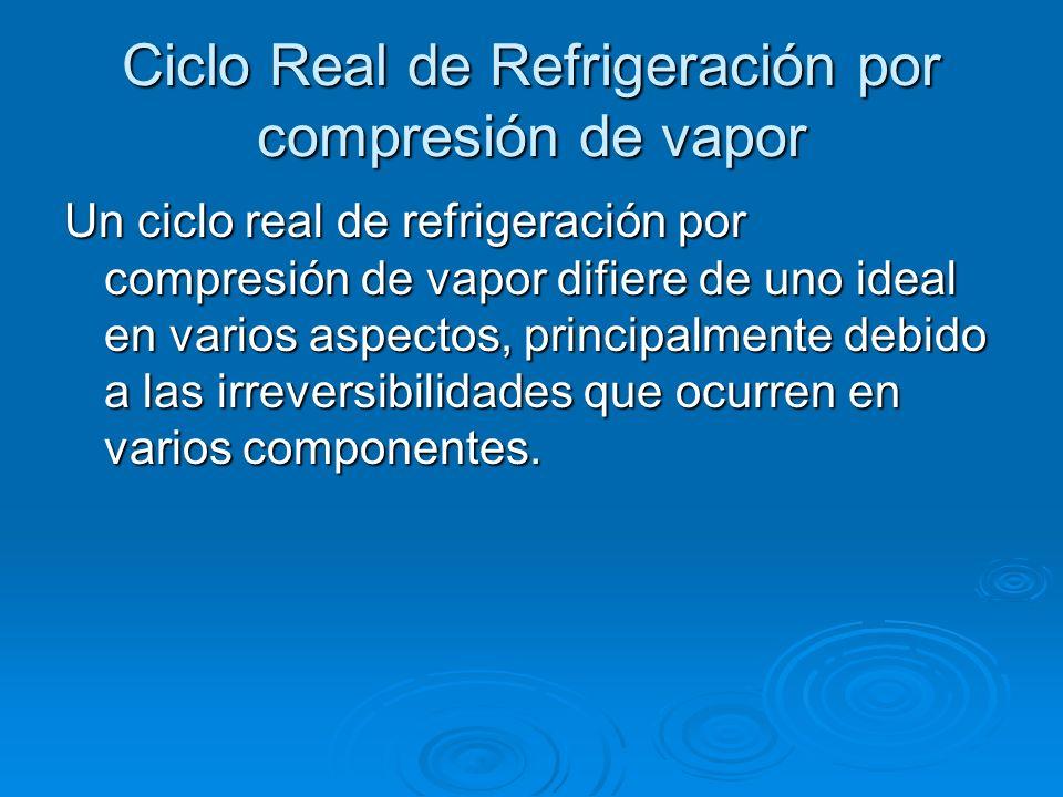 Ciclo Real de Refrigeración por compresión de vapor Un ciclo real de refrigeración por compresión de vapor difiere de uno ideal en varios aspectos, pr