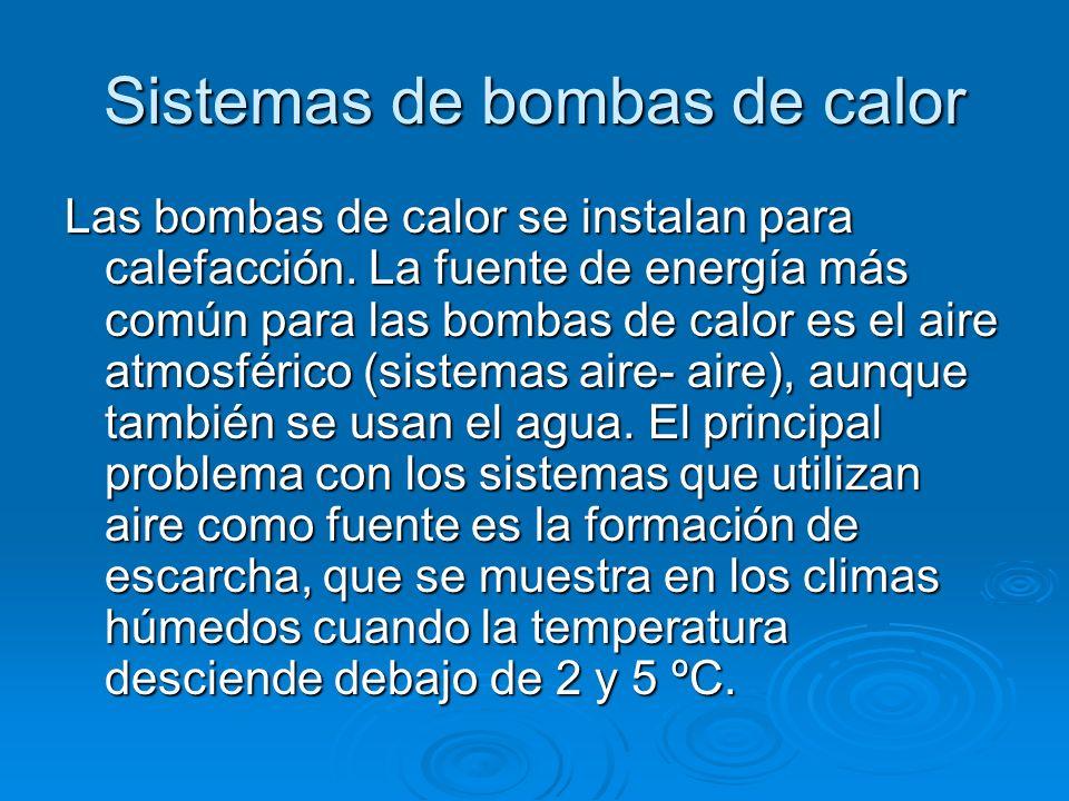 Sistemas de bombas de calor Las bombas de calor se instalan para calefacción. La fuente de energía más común para las bombas de calor es el aire atmos