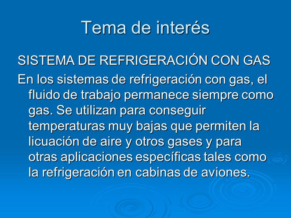 Tema de interés SISTEMA DE REFRIGERACIÓN CON GAS En los sistemas de refrigeración con gas, el fluido de trabajo permanece siempre como gas. Se utiliza