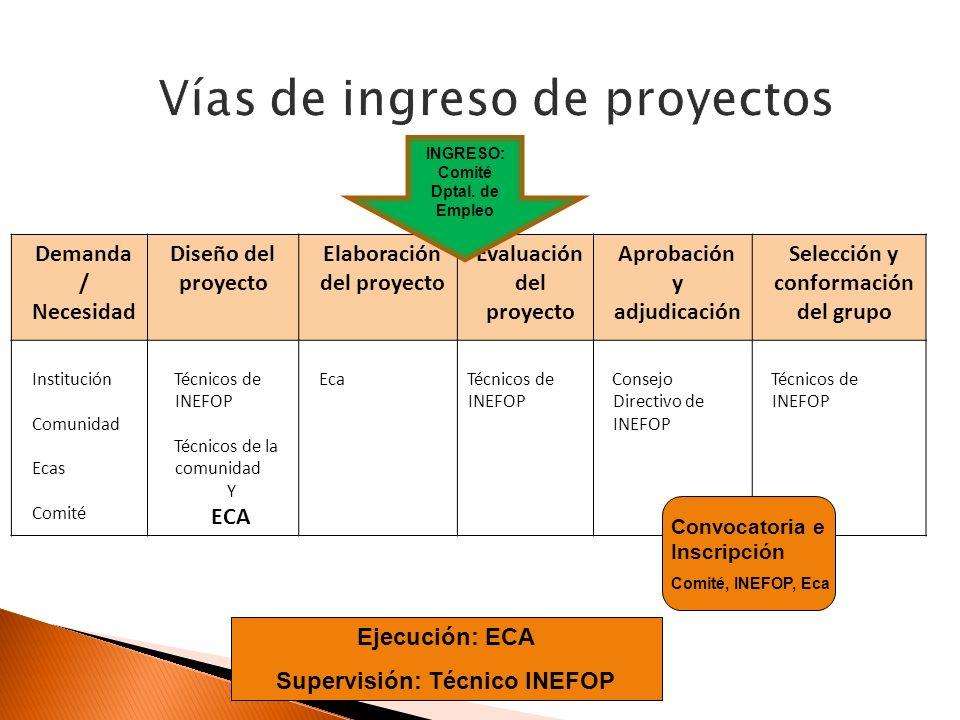 Demanda / Necesidad Diseño del proyecto Elaboración del proyecto Evaluación del proyecto Aprobación y adjudicación Selección y conformación del grupo Institución Comunidad Ecas Comité Técnicos de INEFOP Técnicos de la comunidad Y ECA EcaTécnicos de INEFOP Consejo Directivo de INEFOP Técnicos de INEFOP Ejecución: ECA Supervisión: Técnico INEFOP Convocatoria e Inscripción Comité, INEFOP, Eca INGRESO: Comité Dptal.