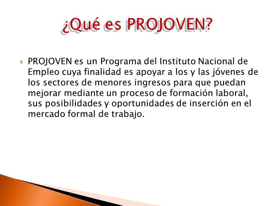 PROJOVEN es un Programa del Instituto Nacional de Empleo cuya finalidad es apoyar a los y las jóvenes de los sectores de menores ingresos para que pue