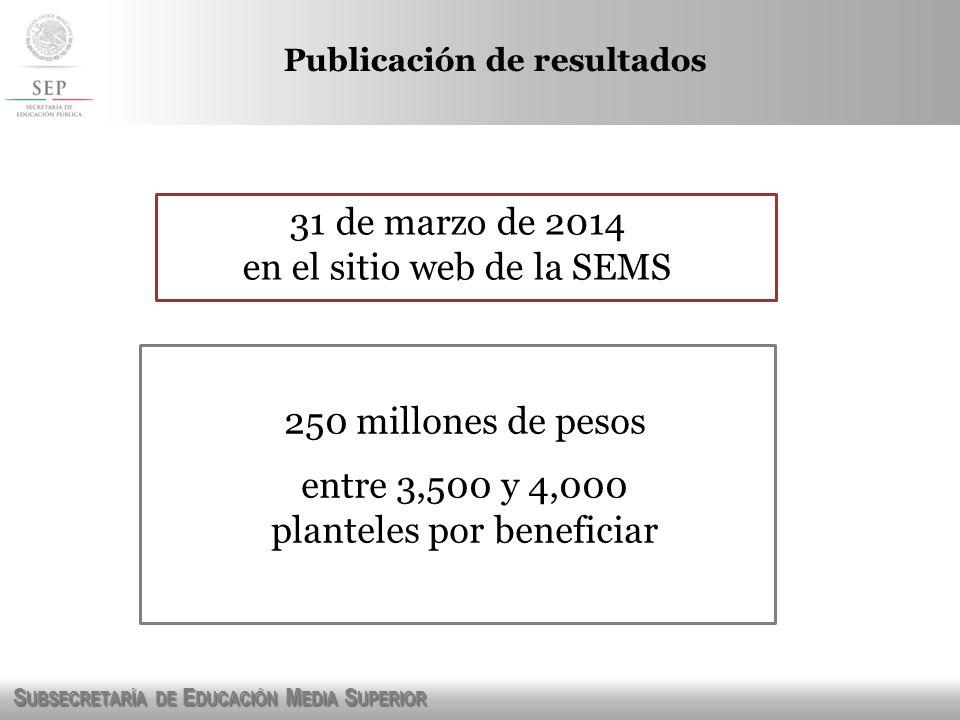 S UBSECRETARÍA DE E DUCACIÓN M EDIA S UPERIOR Publicación de resultados 31 de marzo de 2014 en el sitio web de la SEMS 250 millones de pesos entre 3,5