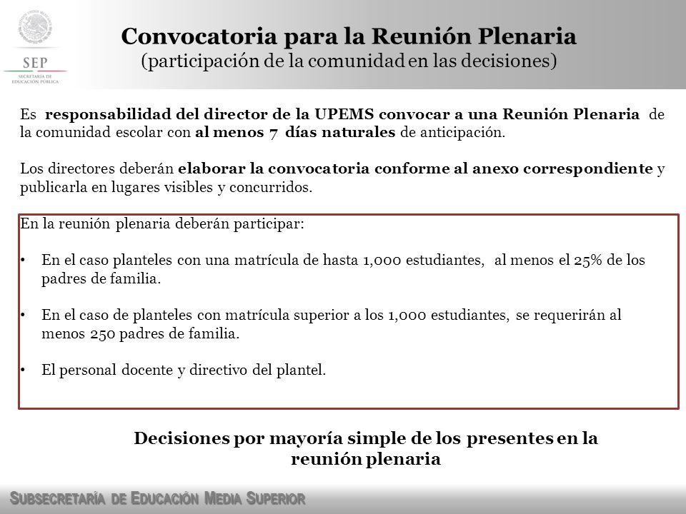 S UBSECRETARÍA DE E DUCACIÓN M EDIA S UPERIOR Convocatoria para la Reunión Plenaria (participación de la comunidad en las decisiones) Es responsabilid
