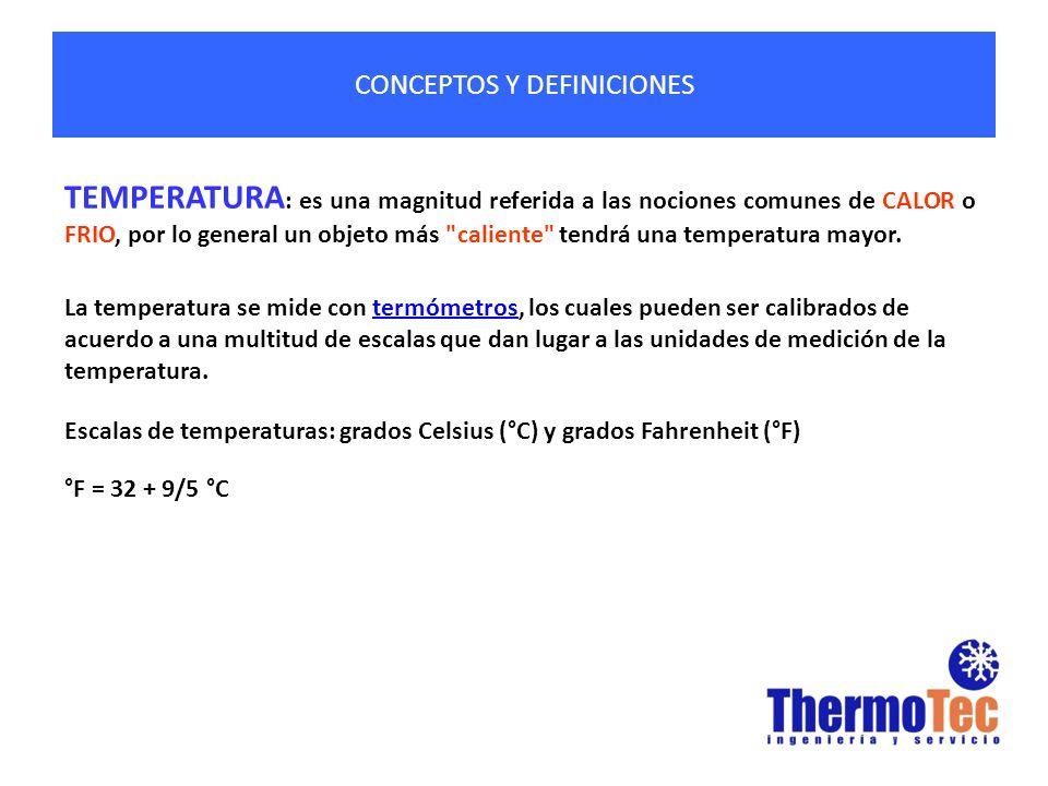 CONCEPTOS Y DEFINICIONES TEMPERATURA : es una magnitud referida a las nociones comunes de CALOR o FRIO, por lo general un objeto más caliente tendrá una temperatura mayor.
