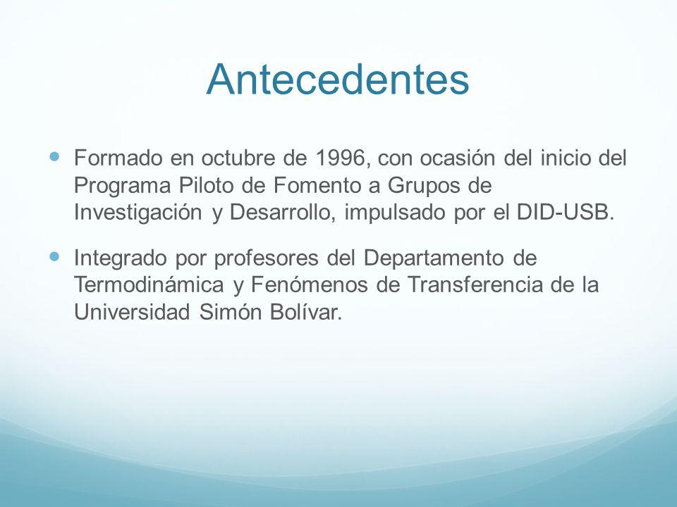 Antecedentes Formado en octubre de 1996, con ocasión del inicio del Programa Piloto de Fomento a Grupos de Investigación y Desarrollo, impulsado por e