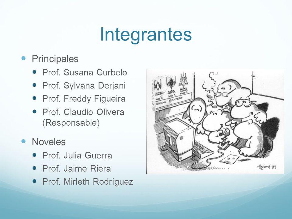 Integrantes Principales Prof. Susana Curbelo Prof. Sylvana Derjani Prof. Freddy Figueira Prof. Claudio Olivera (Responsable) Noveles Prof. Julia Guerr
