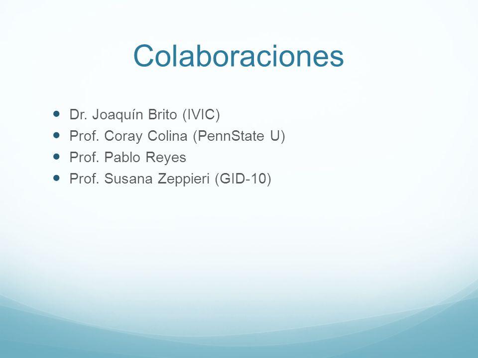 Colaboraciones Dr. Joaquín Brito (IVIC) Prof. Coray Colina (PennState U) Prof. Pablo Reyes Prof. Susana Zeppieri (GID-10)