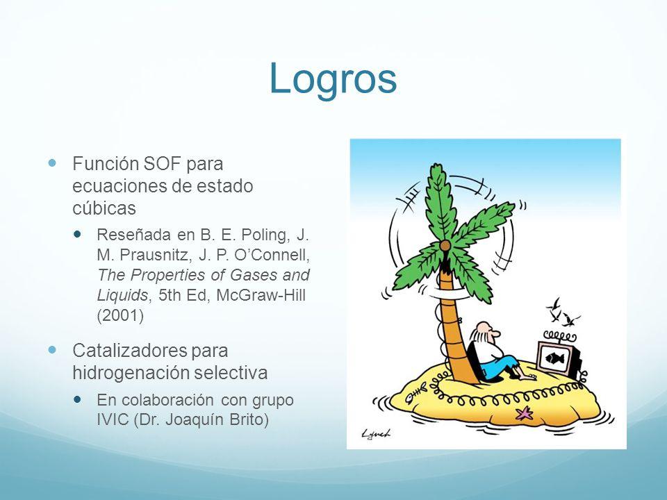 Logros Función SOF para ecuaciones de estado cúbicas Reseñada en B. E. Poling, J. M. Prausnitz, J. P. OConnell, The Properties of Gases and Liquids, 5
