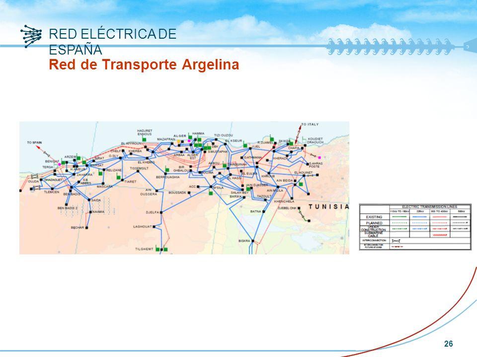 RED ELÉCTRICA DE ESPAÑA 26 Red de Transporte Argelina