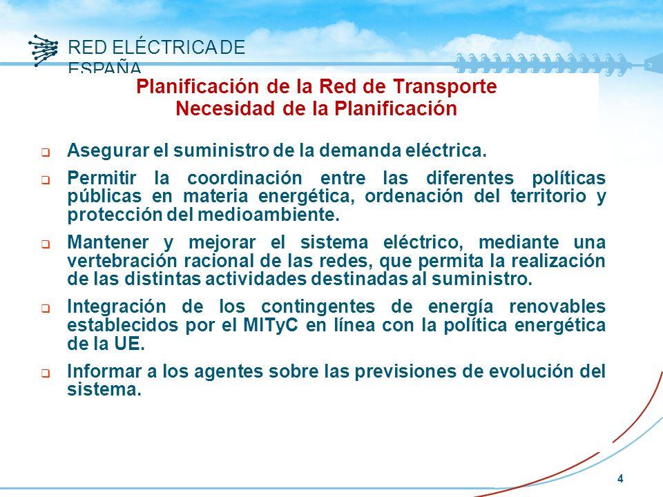 RED ELÉCTRICA DE ESPAÑA 4 Planificación de la Red de Transporte Necesidad de la Planificación Asegurar el suministro de la demanda eléctrica.
