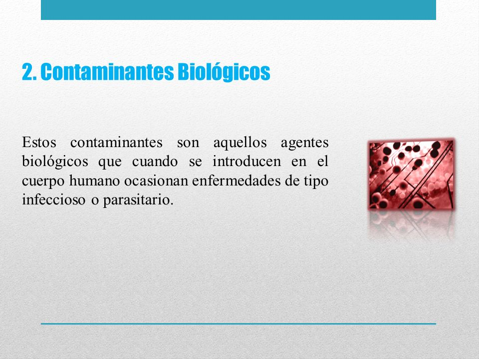 2. Contaminantes Biológicos Estos contaminantes son aquellos agentes biológicos que cuando se introducen en el cuerpo humano ocasionan enfermedades de