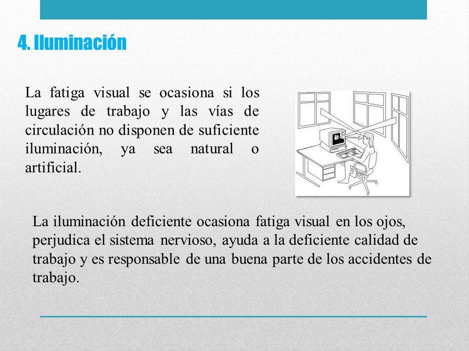 4. Iluminación La fatiga visual se ocasiona si los lugares de trabajo y las vías de circulación no disponen de suficiente iluminación, ya sea natural
