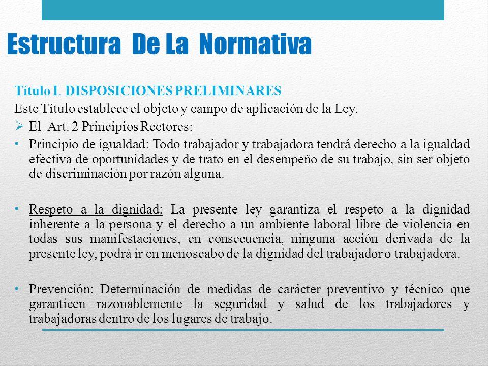 Estructura De La Normativa Título I. DISPOSICIONES PRELIMINARES Este Título establece el objeto y campo de aplicación de la Ley. El Art. 2 Principios