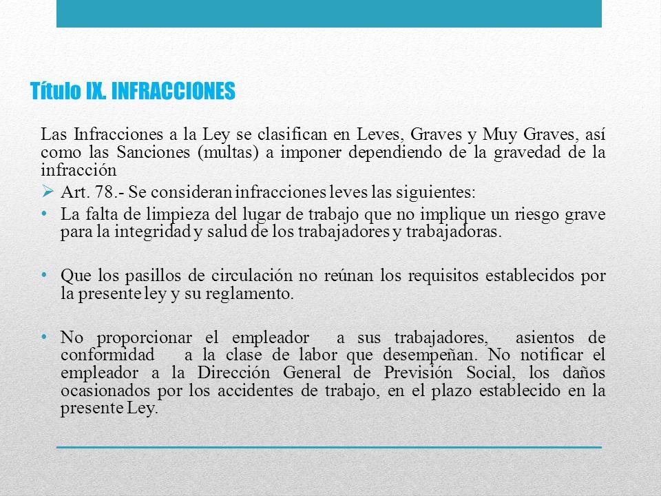 Título IX. INFRACCIONES Las Infracciones a la Ley se clasifican en Leves, Graves y Muy Graves, así como las Sanciones (multas) a imponer dependiendo d