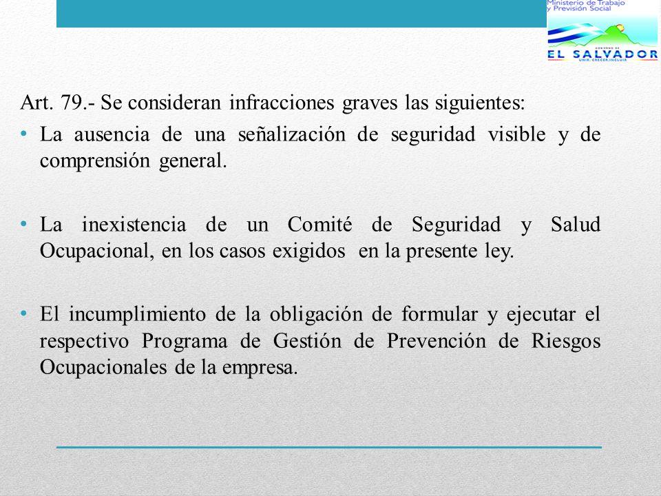 Art. 79.- Se consideran infracciones graves las siguientes: La ausencia de una señalización de seguridad visible y de comprensión general. La inexiste