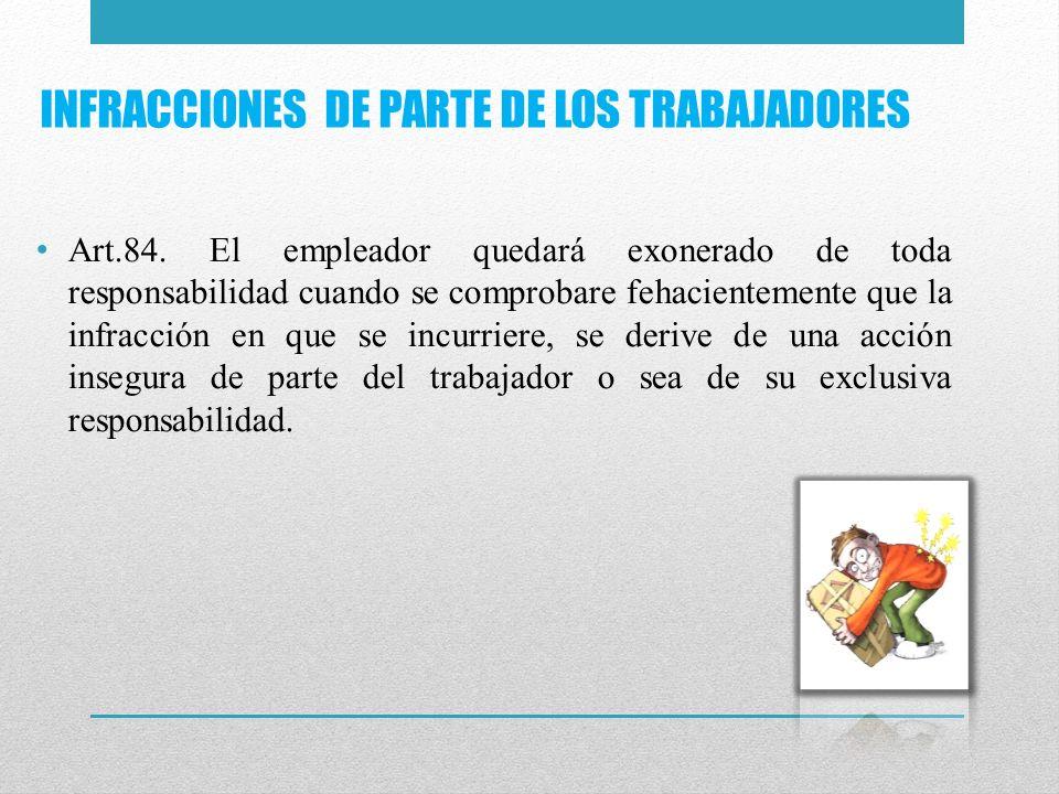 INFRACCIONES DE PARTE DE LOS TRABAJADORES Art.84. El empleador quedará exonerado de toda responsabilidad cuando se comprobare fehacientemente que la i