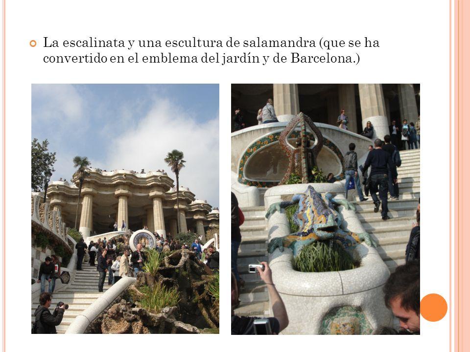 La escalinata y una escultura de salamandra (que se ha convertido en el emblema del jardín y de Barcelona.)