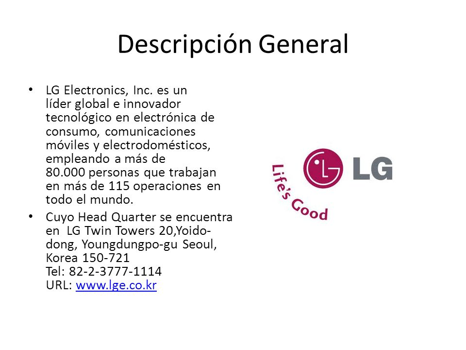 Descripción General LG Electronics, Inc.