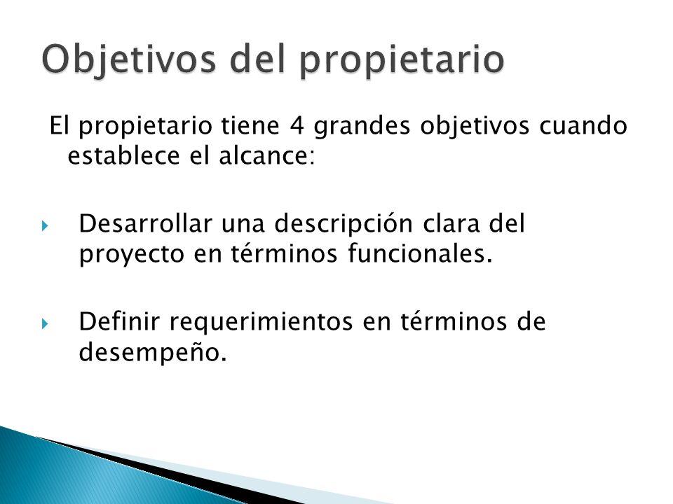 El propietario tiene 4 grandes objetivos cuando establece el alcance: Desarrollar una descripción clara del proyecto en términos funcionales. Definir