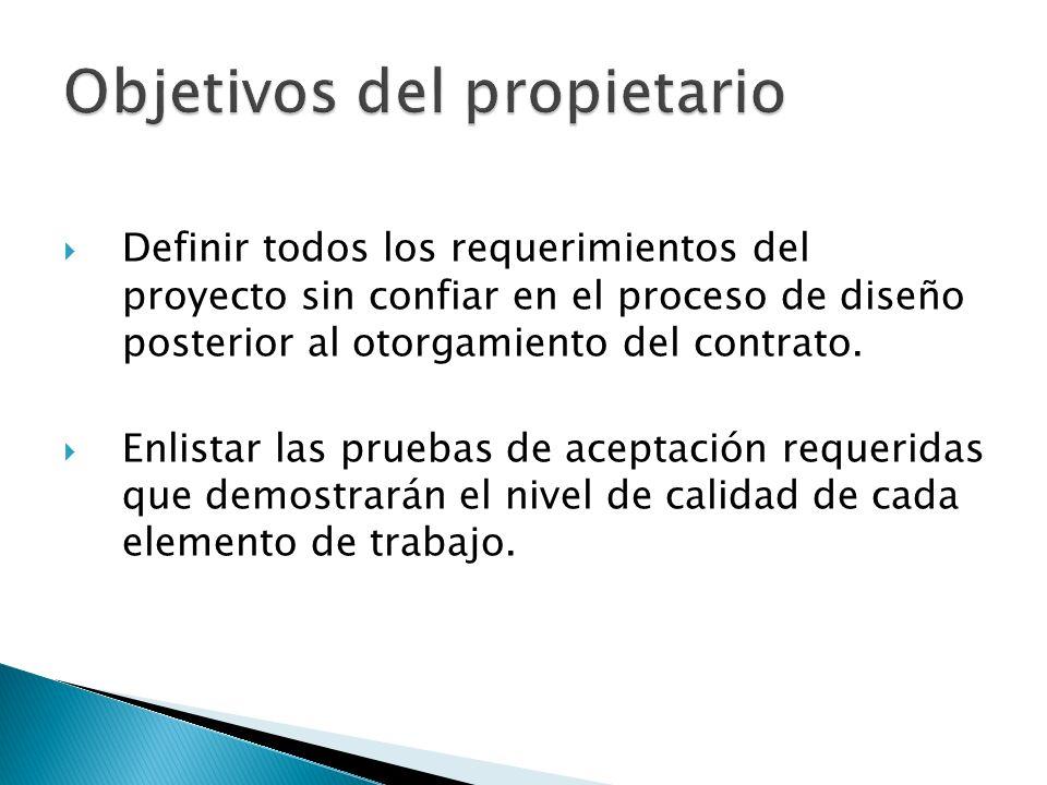Definir todos los requerimientos del proyecto sin confiar en el proceso de diseño posterior al otorgamiento del contrato. Enlistar las pruebas de acep