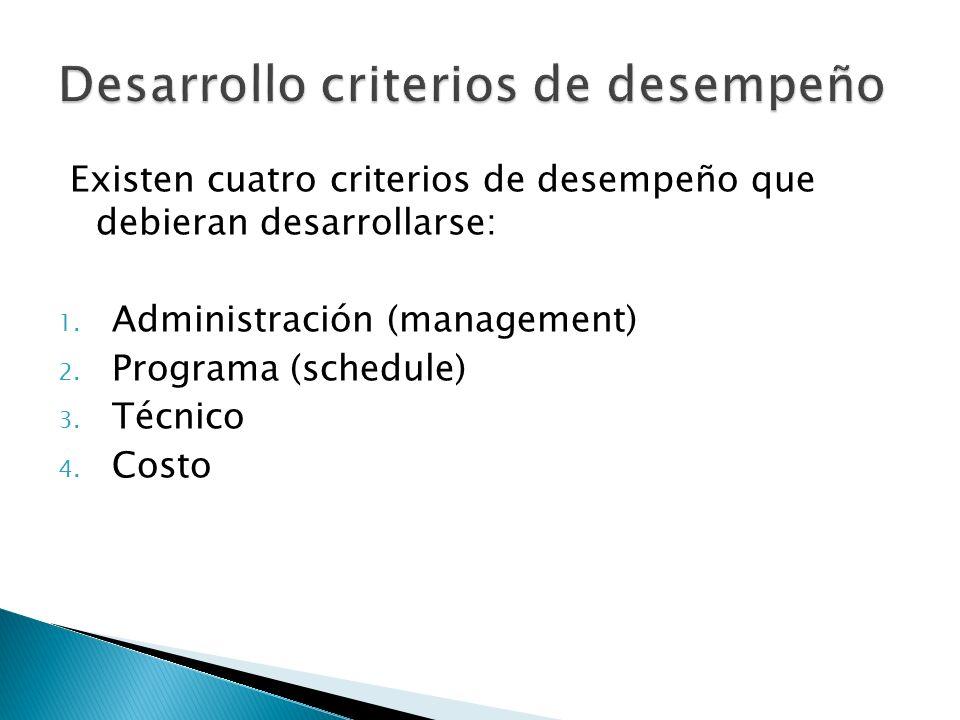 Existen cuatro criterios de desempeño que debieran desarrollarse: 1. Administración (management) 2. Programa (schedule) 3. Técnico 4. Costo