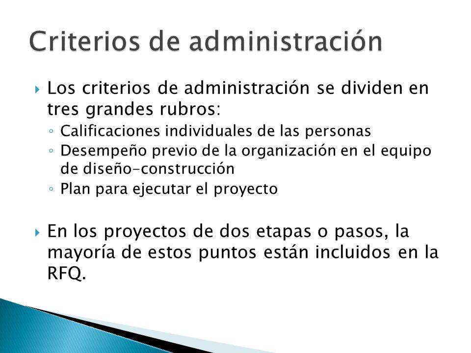 Los criterios de administración se dividen en tres grandes rubros: Calificaciones individuales de las personas Desempeño previo de la organización en