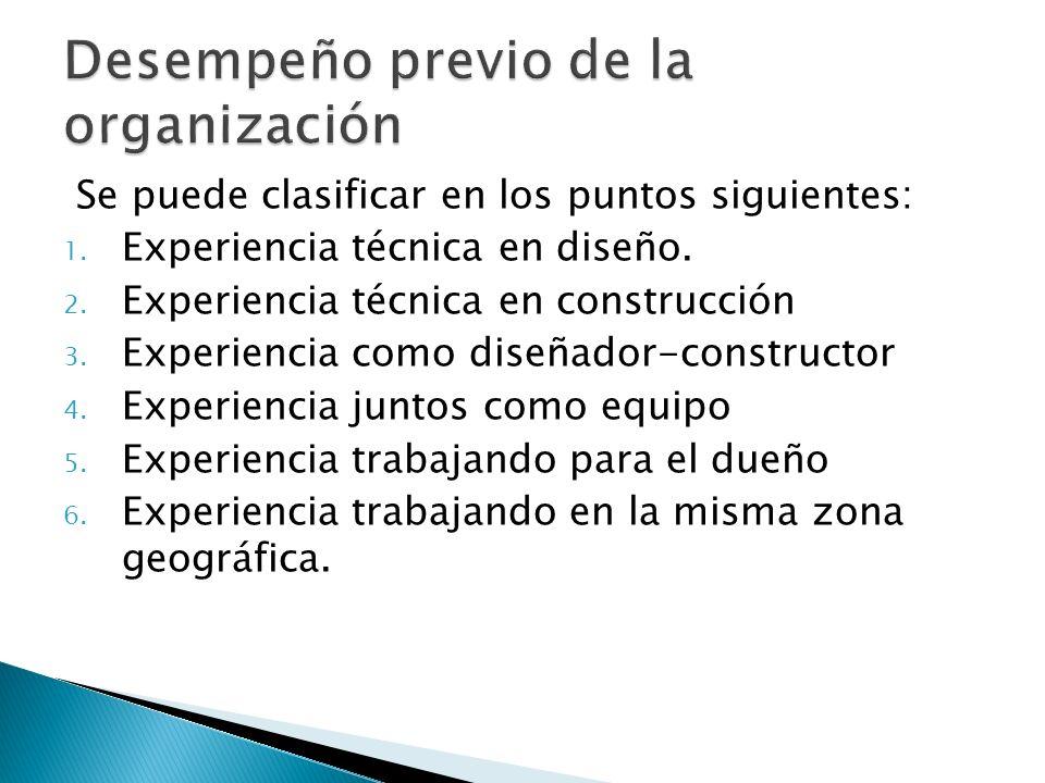 Se puede clasificar en los puntos siguientes: 1. Experiencia técnica en diseño. 2. Experiencia técnica en construcción 3. Experiencia como diseñador-c