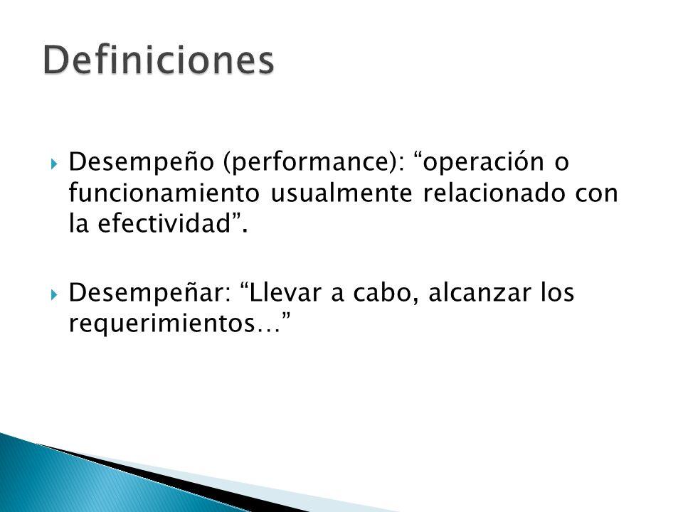 Desempeño (performance): operación o funcionamiento usualmente relacionado con la efectividad. Desempeñar: Llevar a cabo, alcanzar los requerimientos…