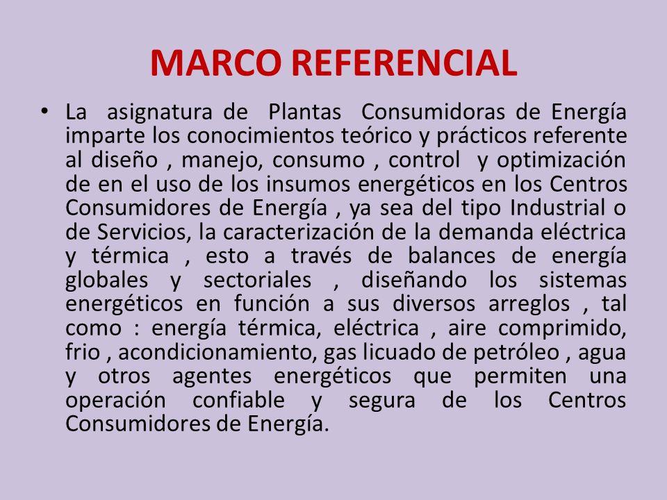 MARCO REFERENCIAL La asignatura de Plantas Consumidoras de Energía imparte los conocimientos teórico y prácticos referente al diseño, manejo, consumo,