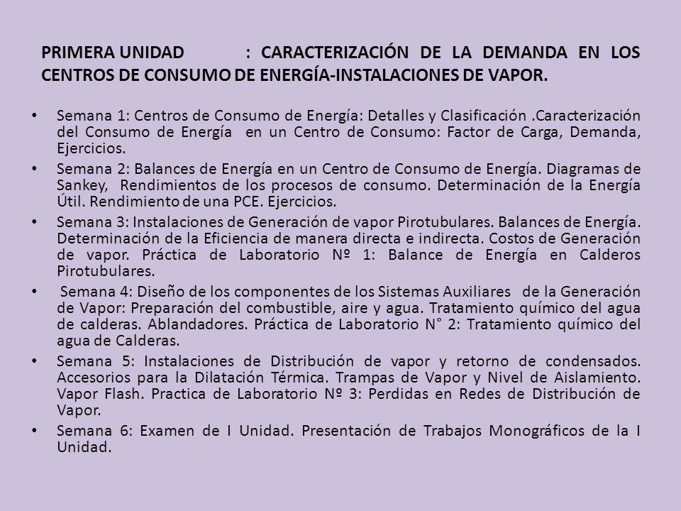 PRIMERA UNIDAD: CARACTERIZACIÓN DE LA DEMANDA EN LOS CENTROS DE CONSUMO DE ENERGÍA-INSTALACIONES DE VAPOR. Semana 1: Centros de Consumo de Energía: De
