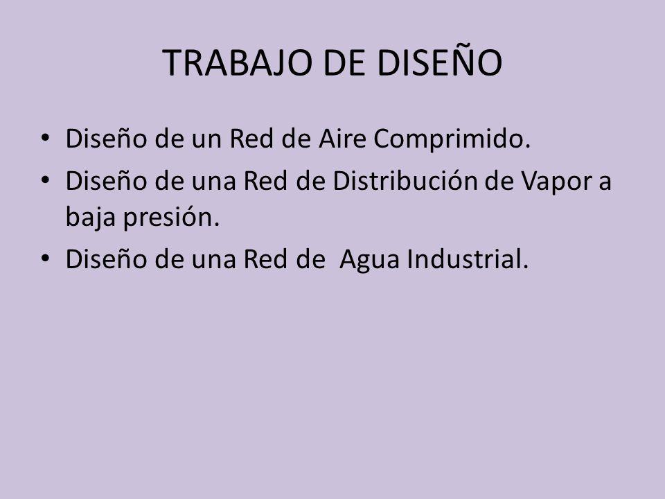 TRABAJO DE DISEÑO Diseño de un Red de Aire Comprimido. Diseño de una Red de Distribución de Vapor a baja presión. Diseño de una Red de Agua Industrial