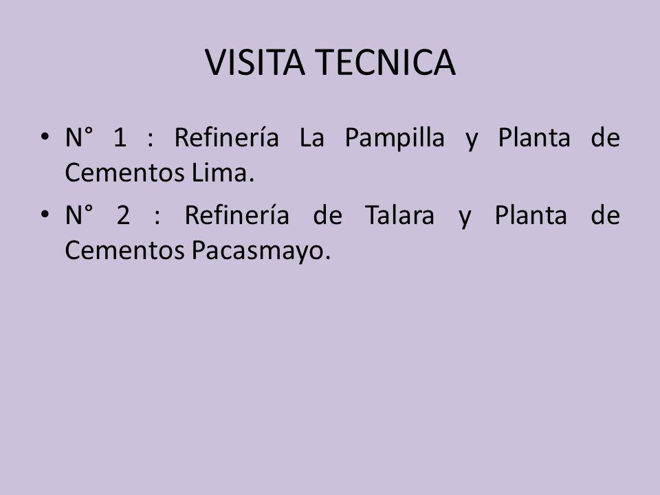 VISITA TECNICA N° 1 : Refinería La Pampilla y Planta de Cementos Lima. N° 2 : Refinería de Talara y Planta de Cementos Pacasmayo.