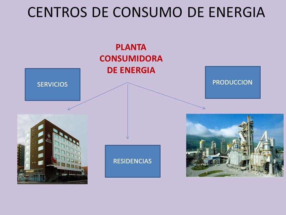 CENTROS DE CONSUMO DE ENERGIA PLANTA CONSUMIDORA DE ENERGIA Energía Eléctrica :Fuerza Motriz, Iluminación.