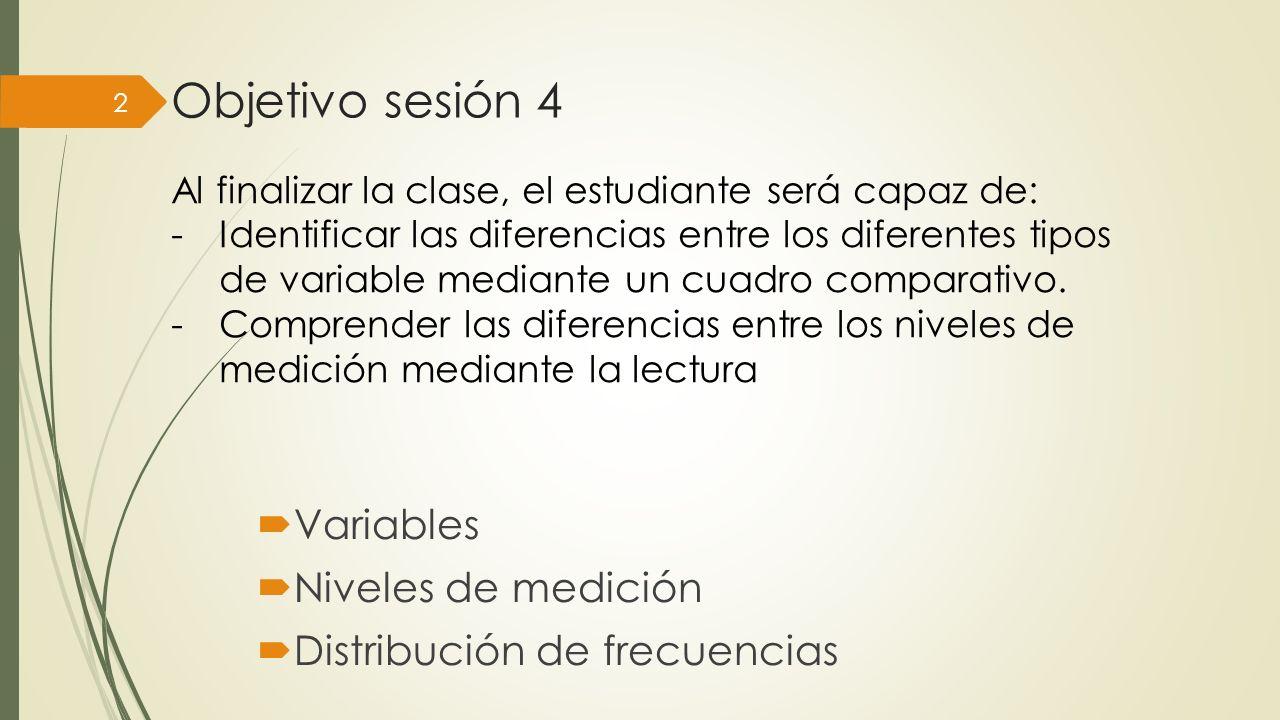 Objetivo sesión 4 Variables Niveles de medición Distribución de frecuencias 2 Al finalizar la clase, el estudiante será capaz de: -Identificar las diferencias entre los diferentes tipos de variable mediante un cuadro comparativo.
