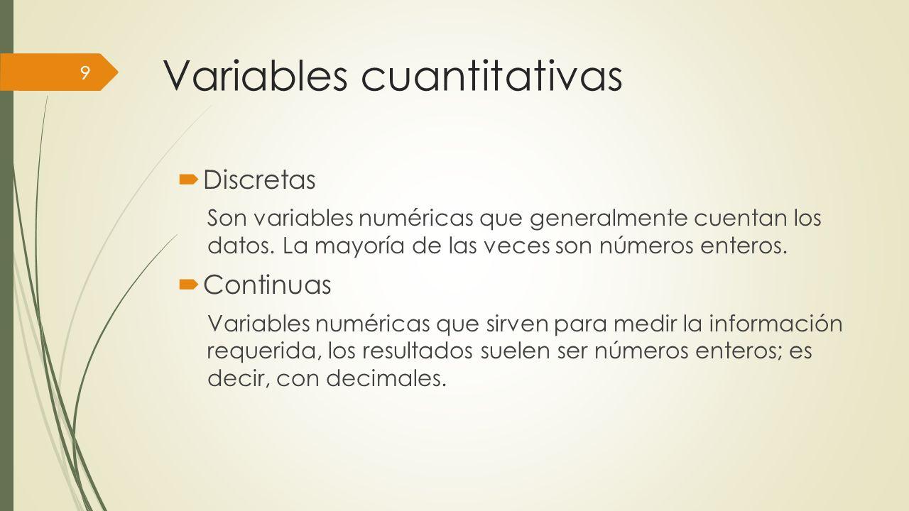 Variables cuantitativas Discretas Son variables numéricas que generalmente cuentan los datos.