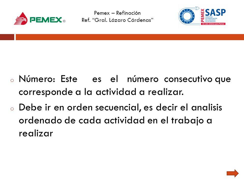 Pemex – Refinación Ref. Gral. Lázaro Cárdenas o Número: Este es el número consecutivo que corresponde a la actividad a realizar. o Debe ir en orden se