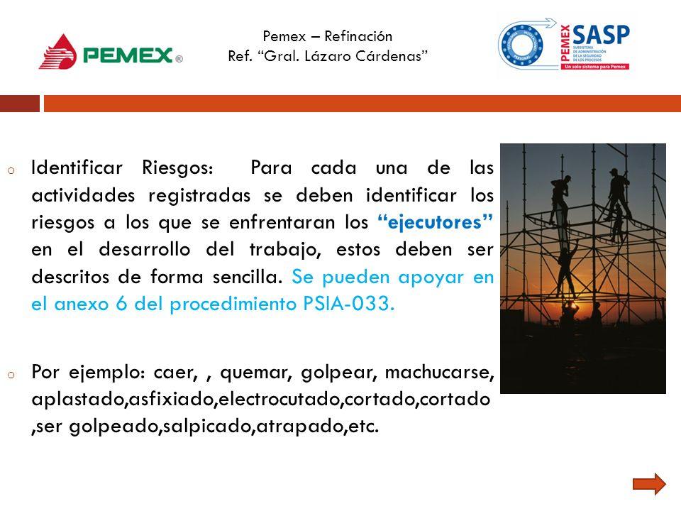 Pemex – Refinación Ref. Gral. Lázaro Cárdenas o Identificar Riesgos: Para cada una de las actividades registradas se deben identificar los riesgos a l