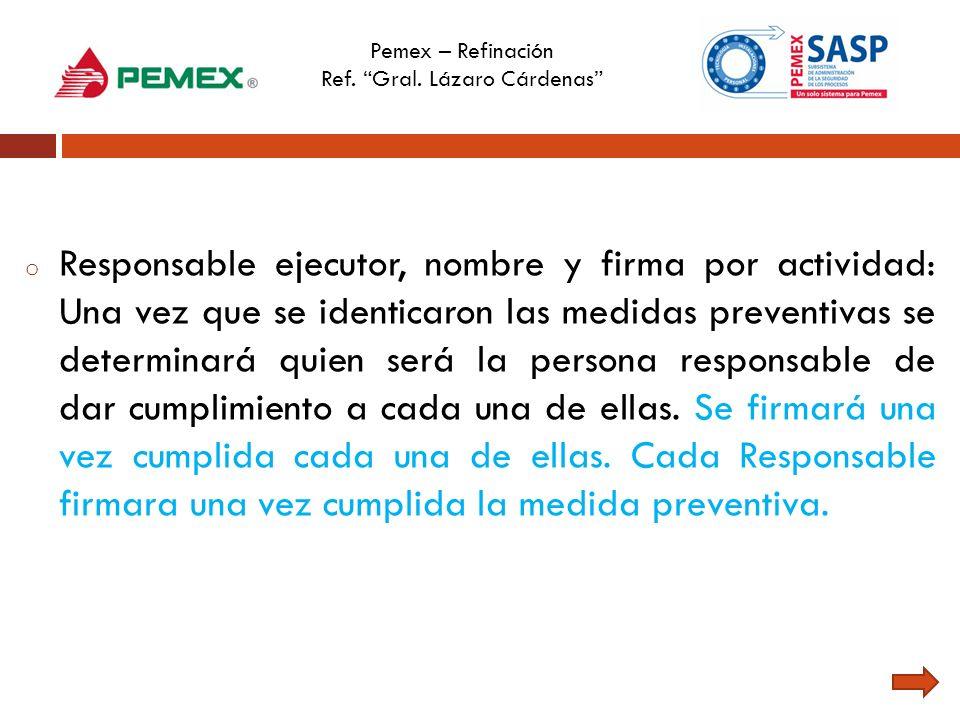Pemex – Refinación Ref. Gral. Lázaro Cárdenas o Responsable ejecutor, nombre y firma por actividad: Una vez que se identicaron las medidas preventivas