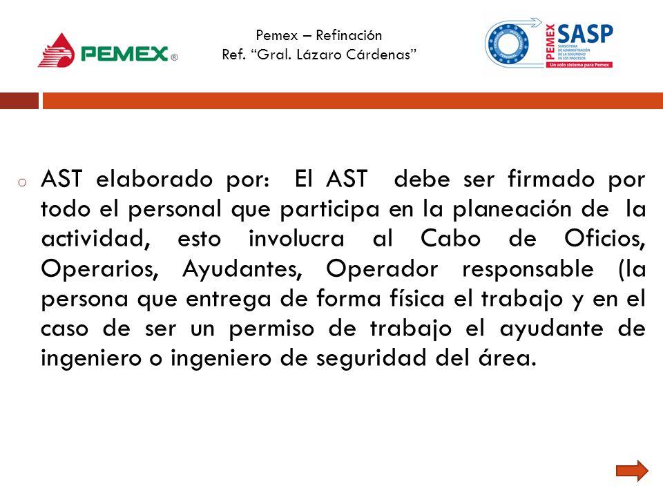 Pemex – Refinación Ref. Gral. Lázaro Cárdenas o AST elaborado por: El AST debe ser firmado por todo el personal que participa en la planeación de la a