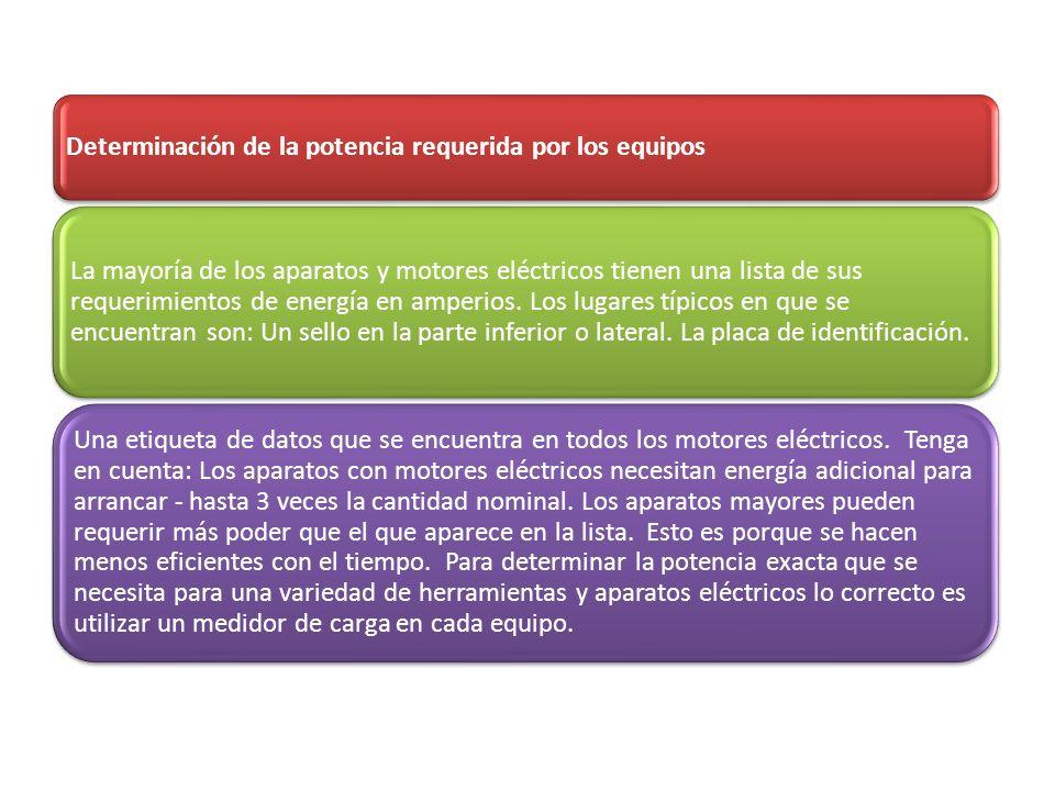 Determinación de la potencia requerida por los equipos La mayoría de los aparatos y motores eléctricos tienen una lista de sus requerimientos de energ