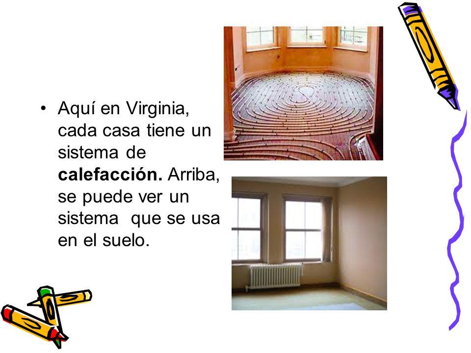 Aquí en Virginia, cada casa tiene un sistema de calefacción. Arriba, se puede ver un sistema que se usa en el suelo.
