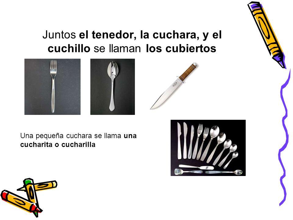 Juntos el tenedor, la cuchara, y el cuchillo se llaman los cubiertos Una pequeña cuchara se llama una cucharita o cucharilla