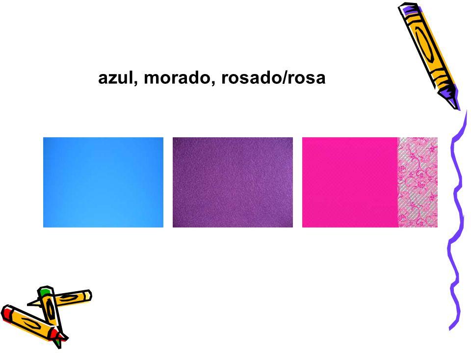azul, morado, rosado/rosa
