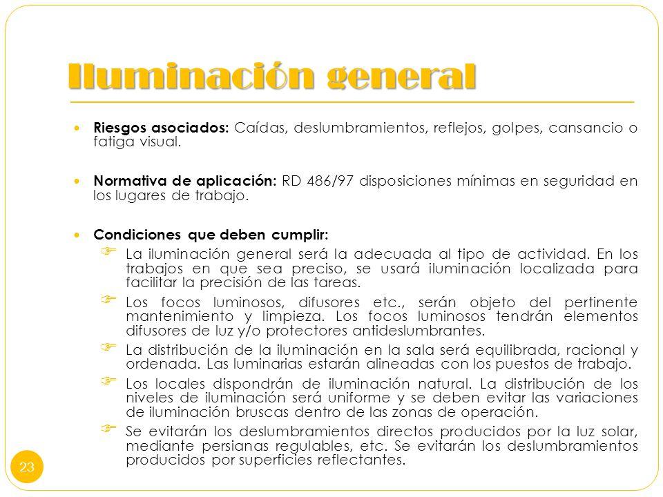Iluminación general Riesgos asociados: Caídas, deslumbramientos, reflejos, golpes, cansancio o fatiga visual. Normativa de aplicación: RD 486/97 dispo