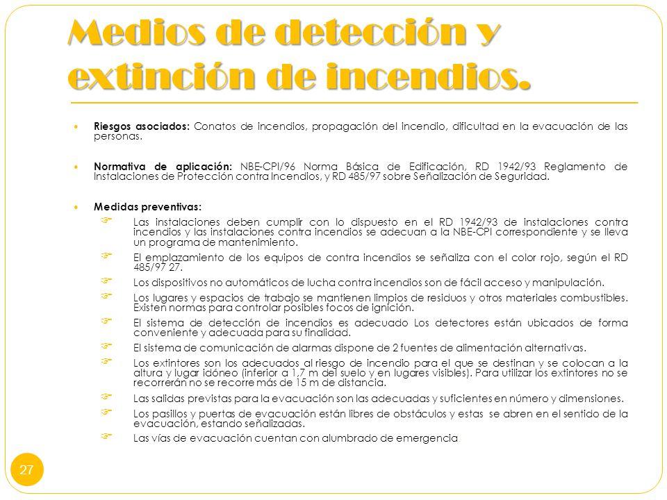 Medios de detección y extinción de incendios. Riesgos asociados: Conatos de incendios, propagación del incendio, dificultad en la evacuación de las pe